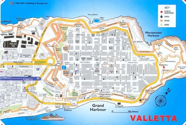 Valletta Tourist Map Valletta malta mappery