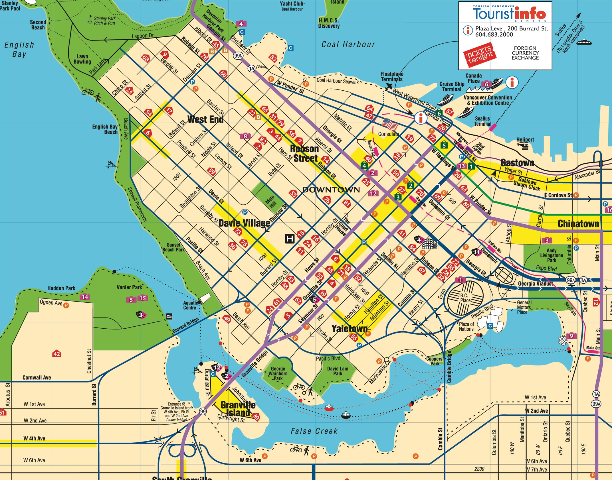 Vancouver Downtown Map Downtown Vancouver Canada Mappery - Vancouver canada map