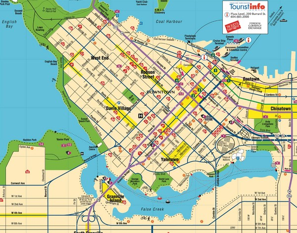 Vancouver Downtown Map Downtown Vancouver Canada mappery