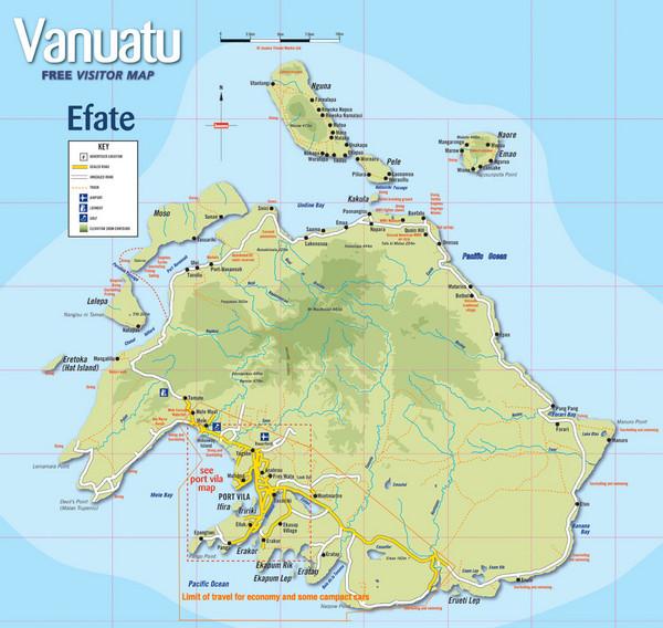 Vanuatu Tourist Map - Efate Vanuatu • mappery