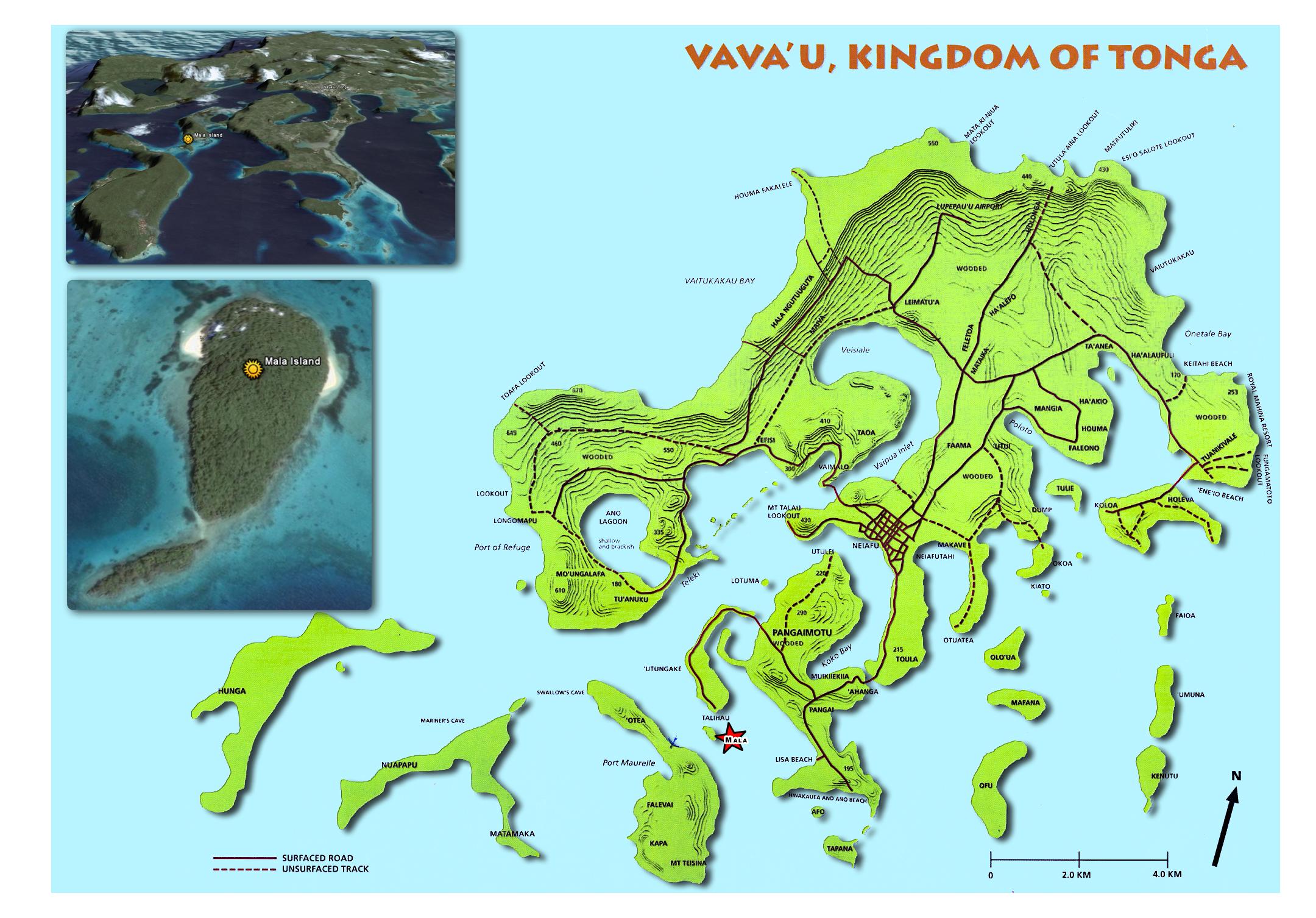 Vavau island Map tonga mappery