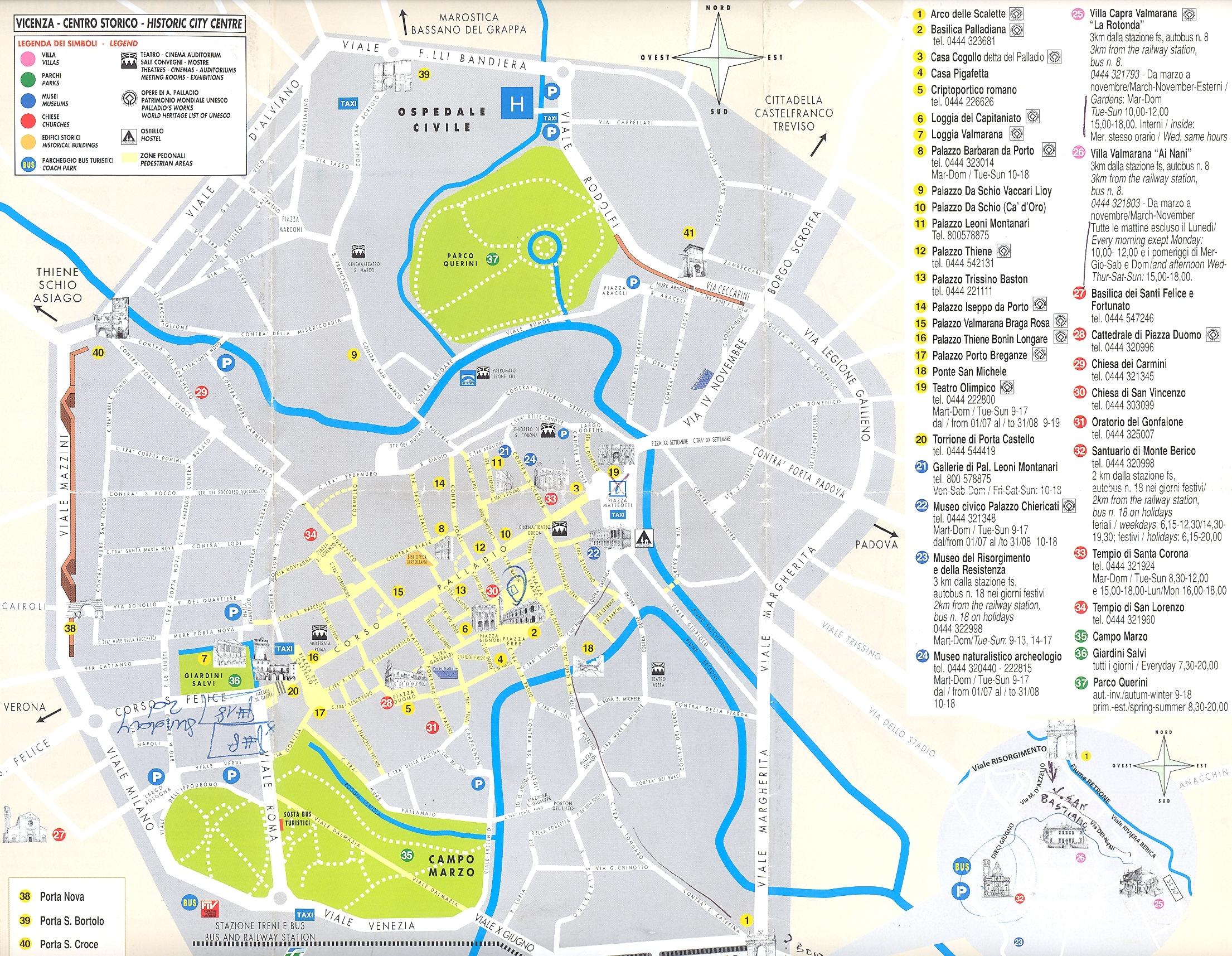 Виченца (Vicenza), регион Венето, Италия - достопримечательности, подробная карта города