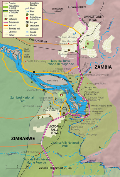 Victoria Falls and vicinity Map