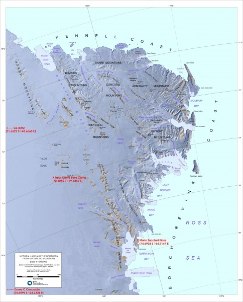 Victoria Land and the Northern Trans-Antarctic Mountains Map