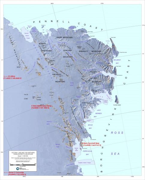 Antarctica Map Mountains