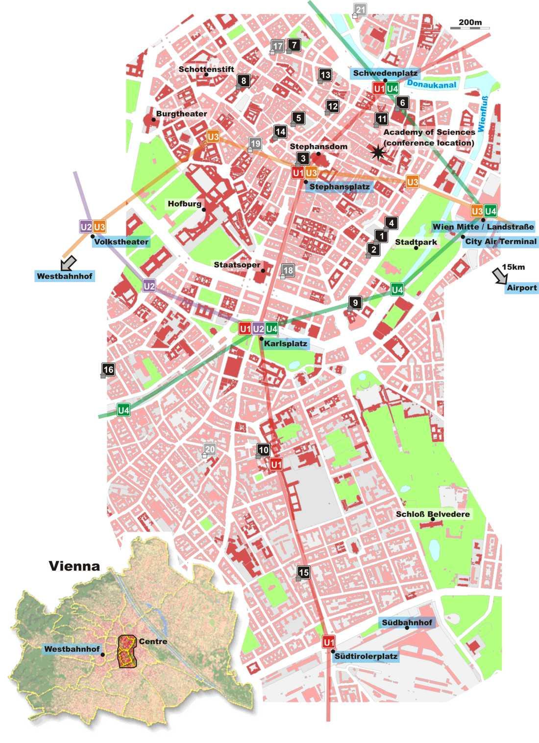 Vienna City Center Map Vienna Austria mappery