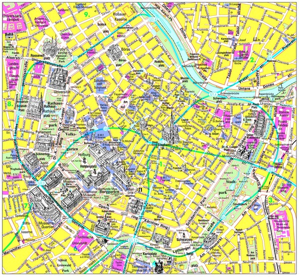 Vienna Inner City Tourist Map Vienna Austria mappery – Austria Tourist Attractions Map