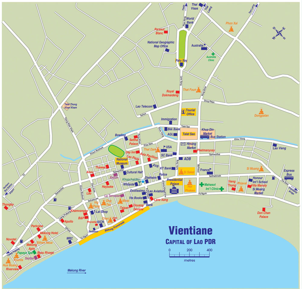Vientiane City Map Vientiane Laos mappery