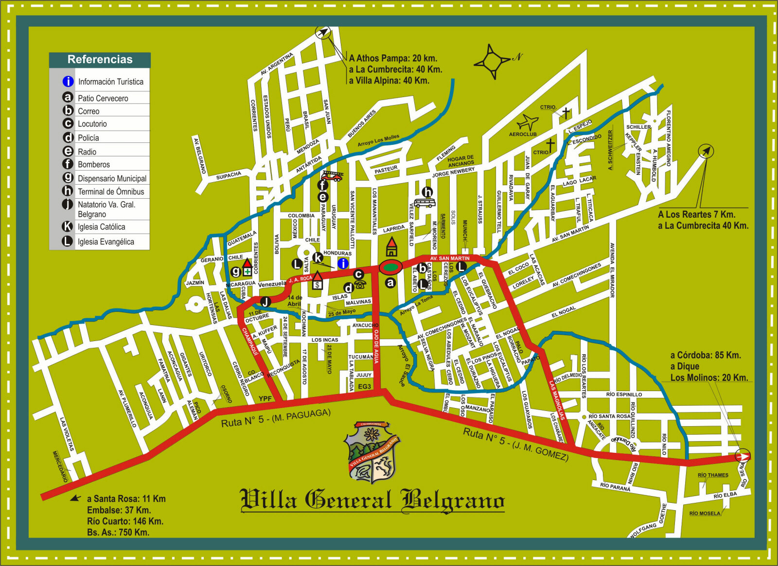 Villa General Belgrano Tourist Map Villa General Belgrano – Tourist Map of Argentina