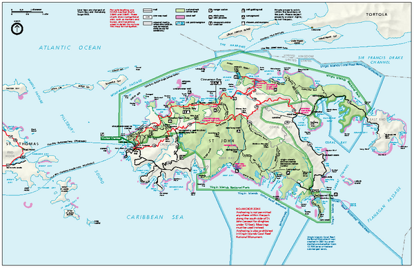Virgin Islands National Park Tourist Map Virgin Islands mappery
