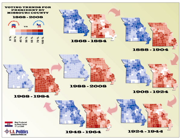 Voting Trends for President by Missouri County Map