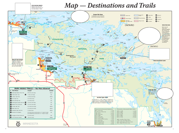 Voyageurs National Park Official Park Map Voyageurs National Park