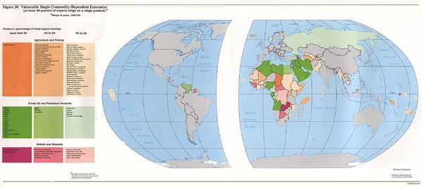 Vulnerable Single-Commodity-Dependent Economies World Map