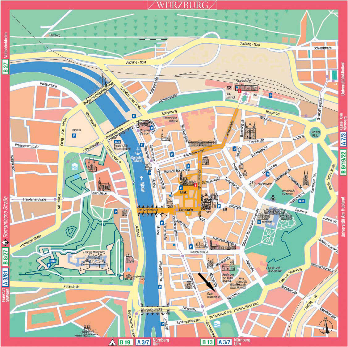 Tourist Map Of Germany With Cities.Wurzburg Tourist Map Wuumlrzburg Germany Mappery