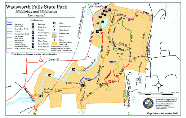 Wadsworth Falls State Park map