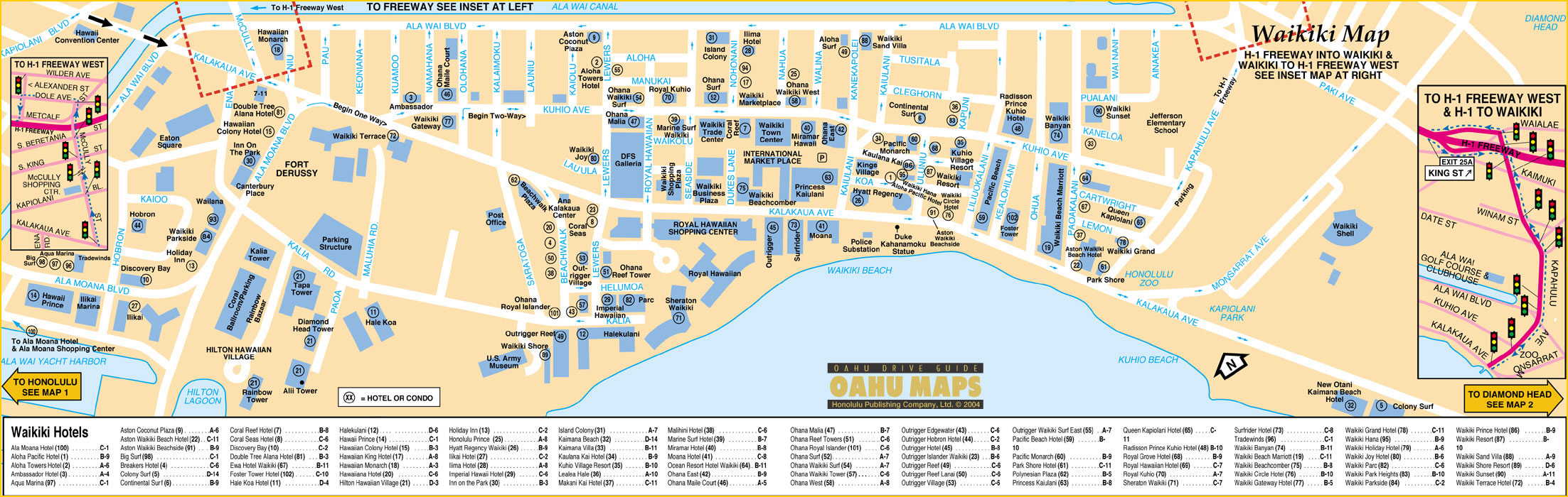 Waikiki Tourist Map  Waikiki Honolulu Hawaii  Mappery