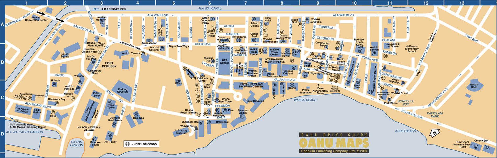 . waikiki map  waikiki hawaii • mappery