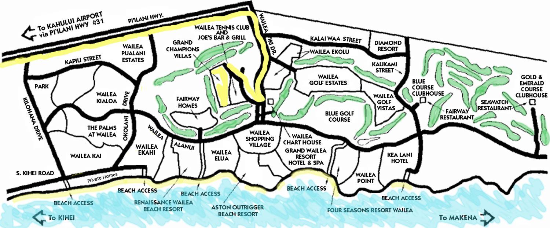 Wailea Hotels Map Grand Wailea Resort Maui Map