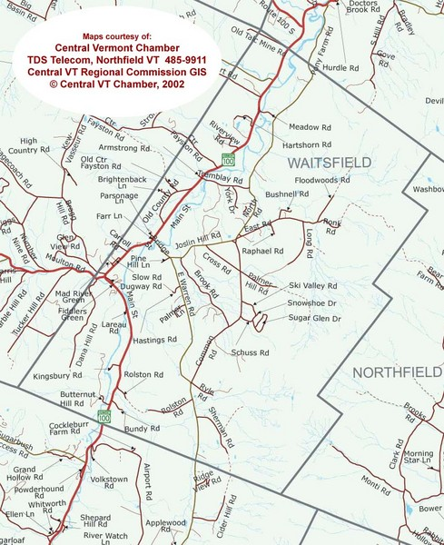 Waitsfield, Vermont City Map