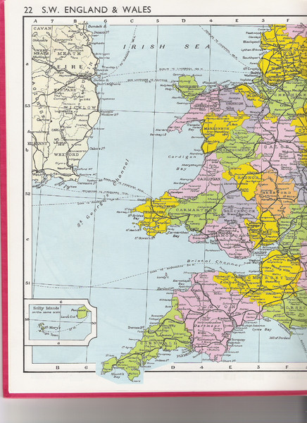 Map of Wales and southwest England
