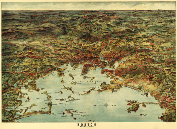 Walkers Map of Boston Harbor and Environs 1905 boston harbor mappery