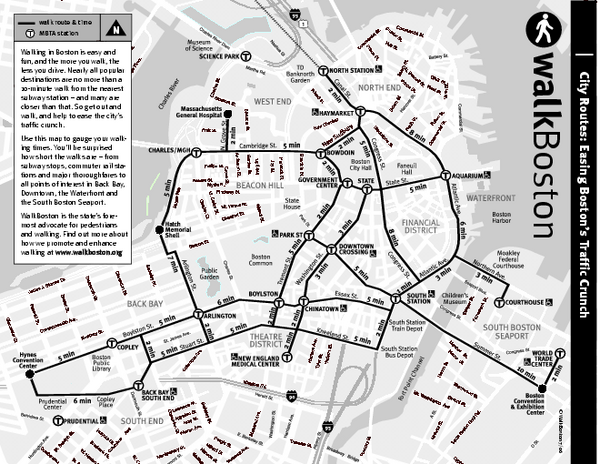Walking Map of Boston Massachusetts Boston MA mappery – Boston Tourist Map Pdf