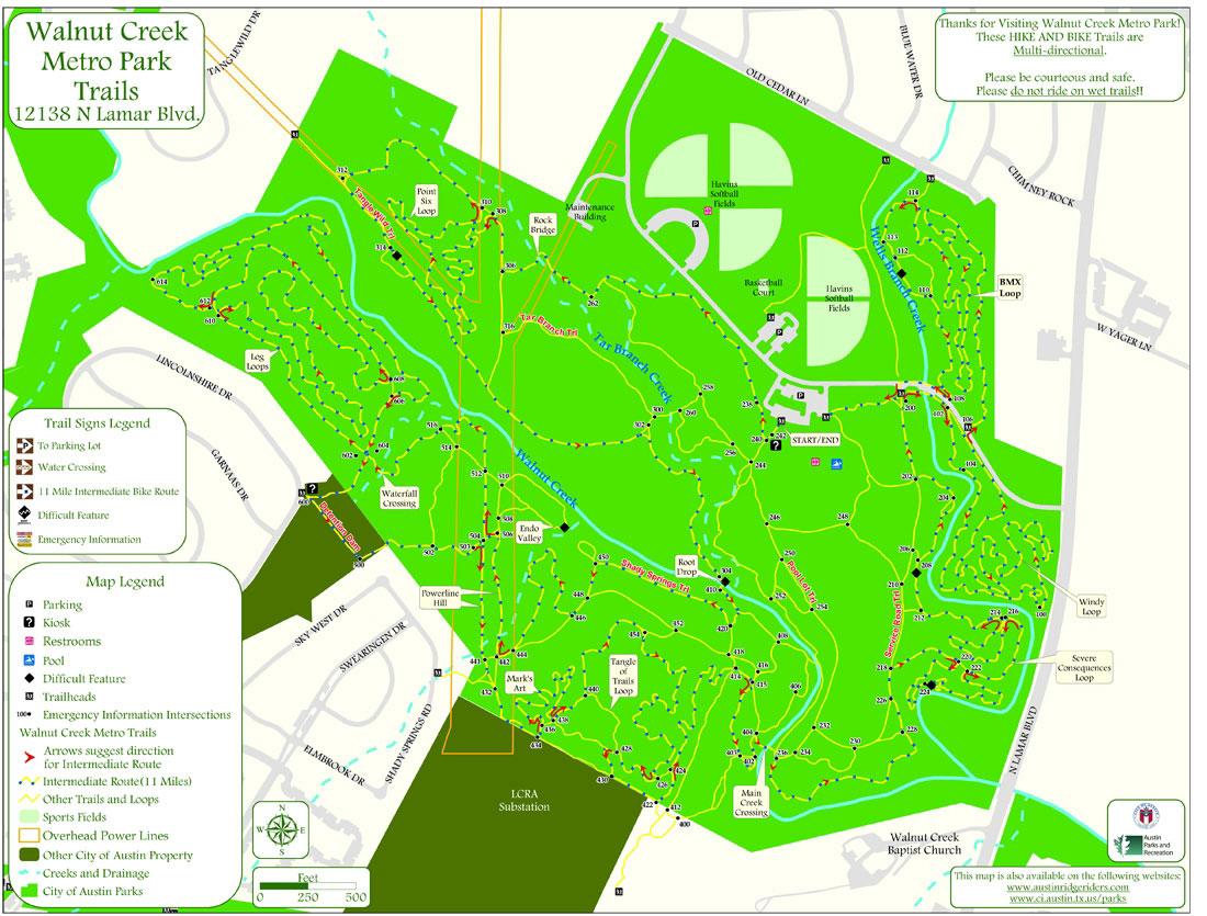 Walnut Creek Metro Park Trails Map 12138 N Lamar Blvd Austin Mappery