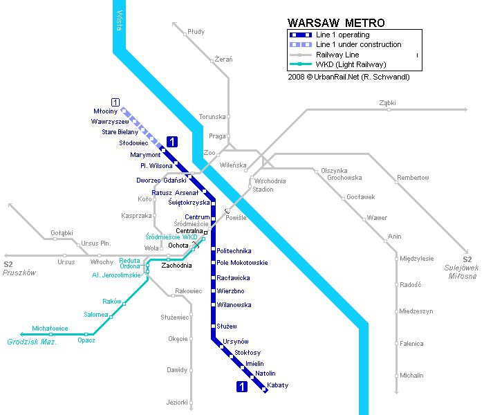 Warsaw Metro Map - Warsaw • mappery Warsaw Metro Map