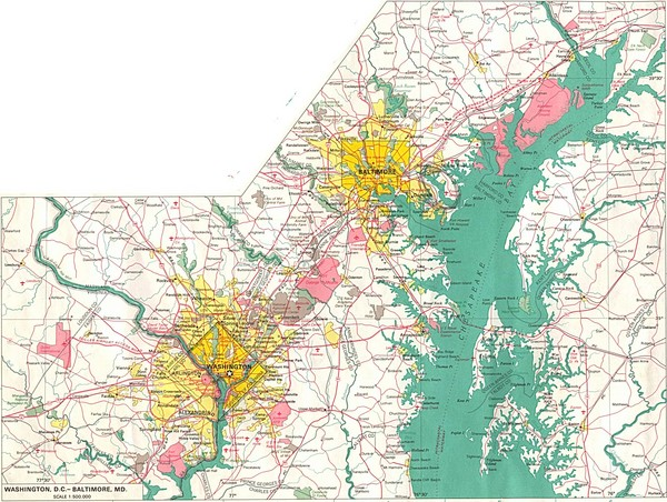 Washington D.C and Baltimore, MD City Map