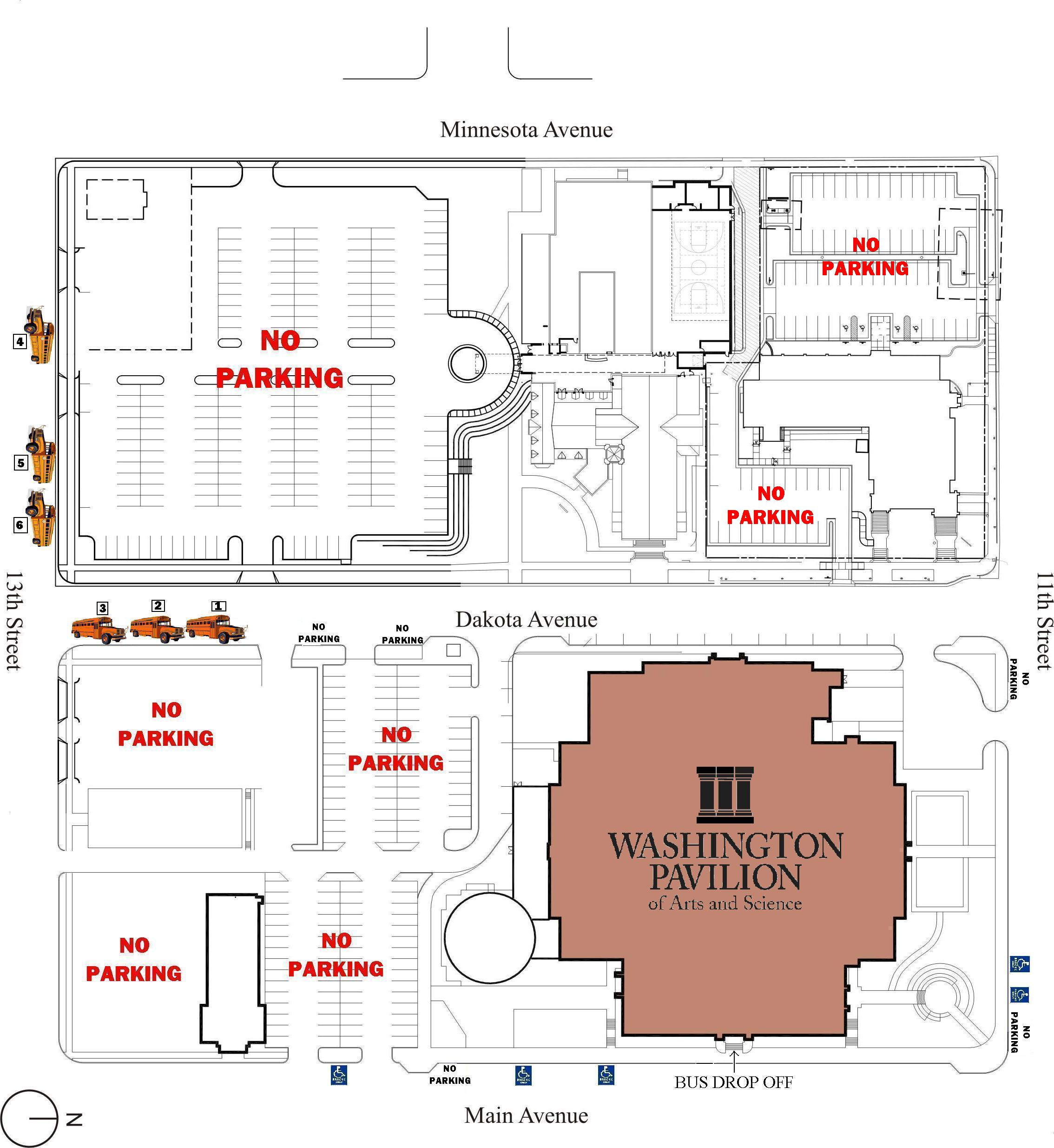 Washington Pavillion of Arts and Sciences Bus Parking Map 301 S