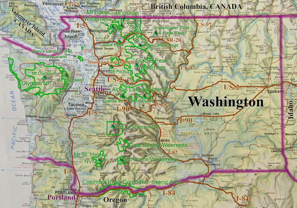 Washington State Road and Recreation Map - Washington State • mappery