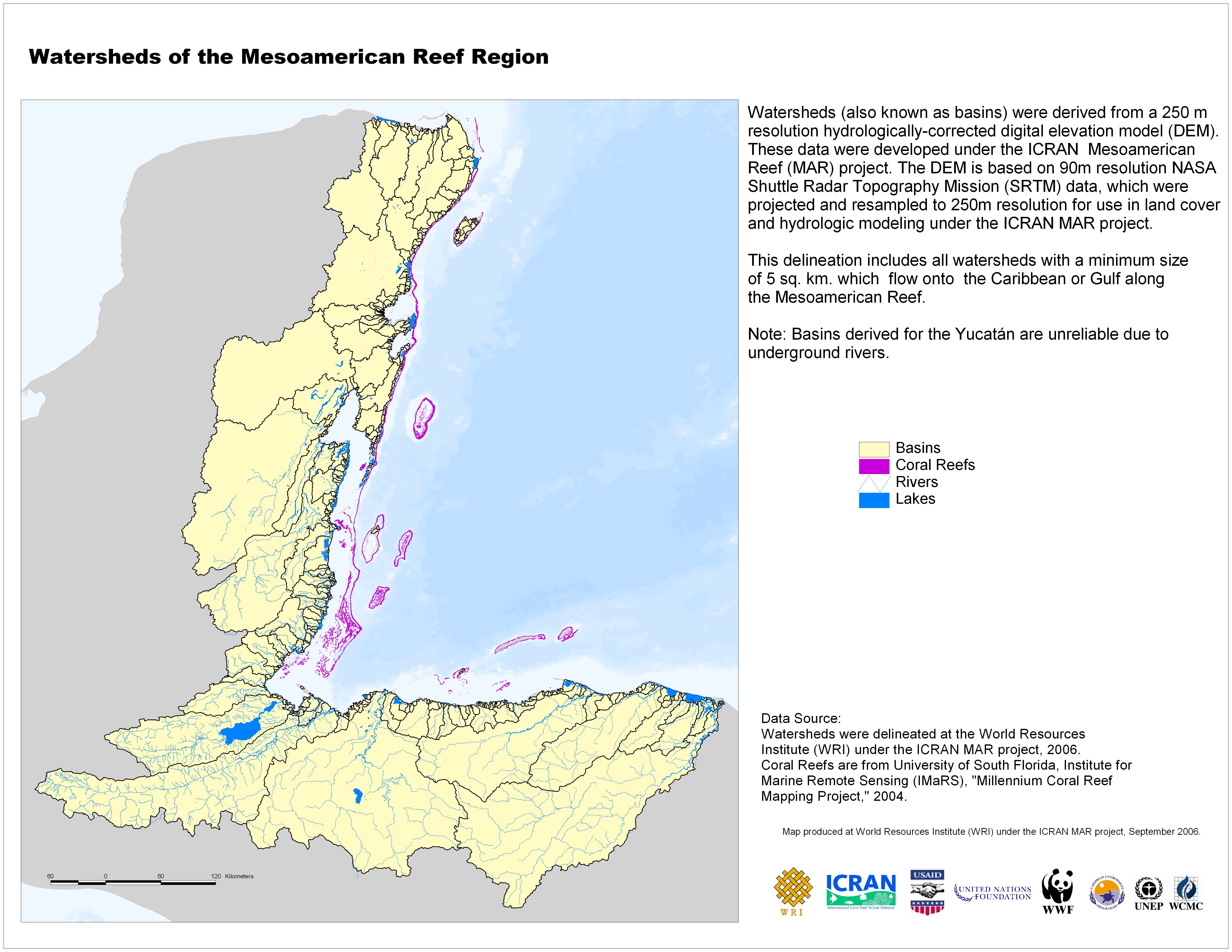 Watersheds of mesoamerican reef region map yucatan mappery gumiabroncs Image collections