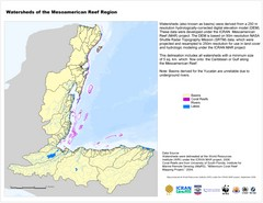 Watersheds of the Mesoamerican Reef Region Map