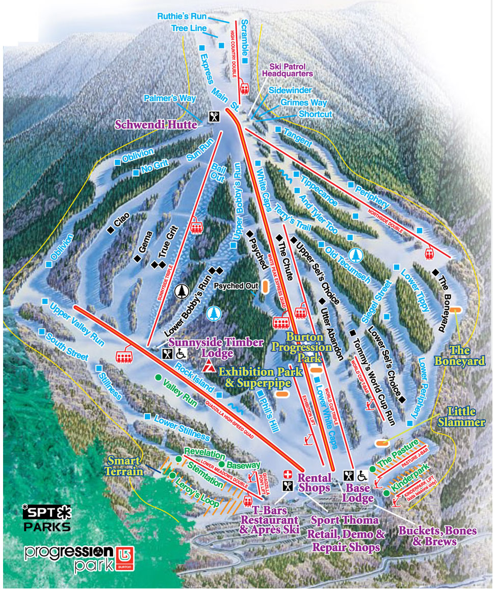 Waterville Valley Ski Trail Map 1 Ski Area Road Waterville Valley