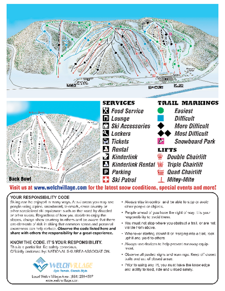 Welch Village Ski Area Ski Trail Map