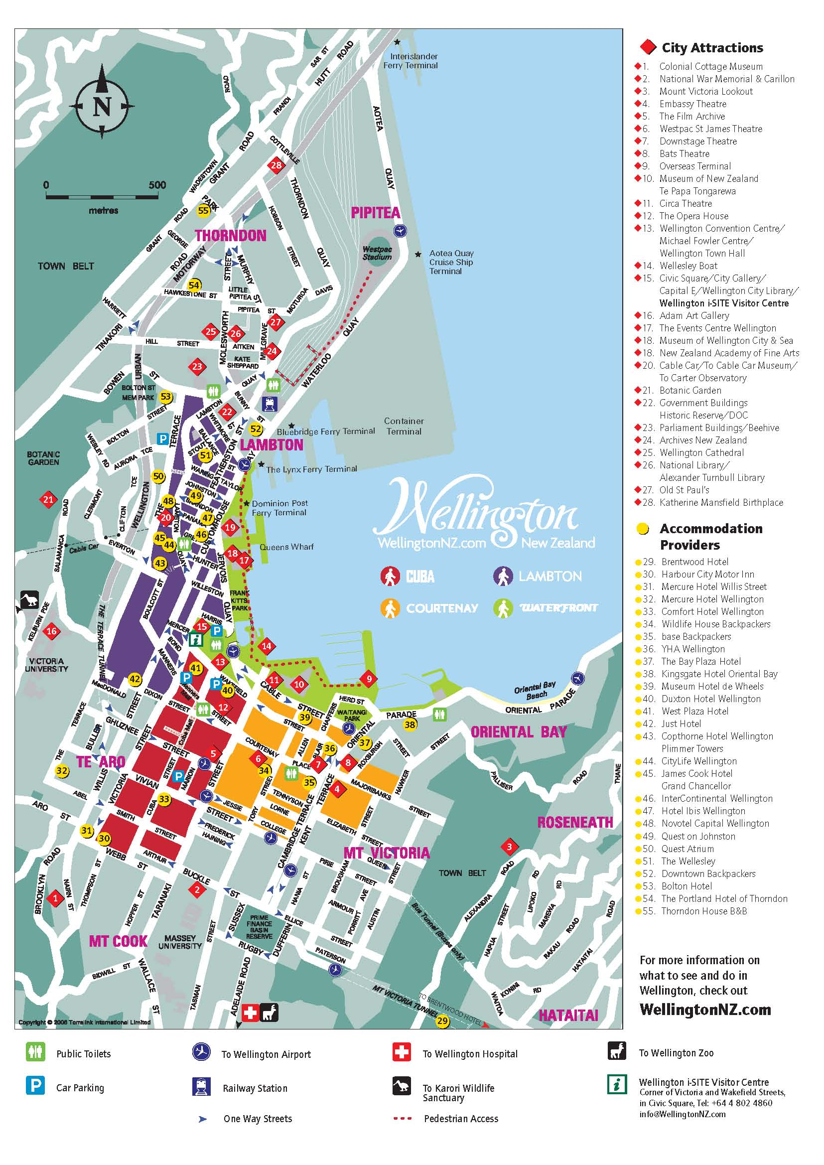 Map Of Wellington New Zealand.Wellington Tourist Map Wellington New Zealand Mappery