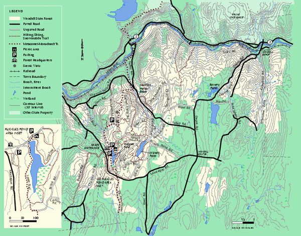 Wendell State Forest trail map