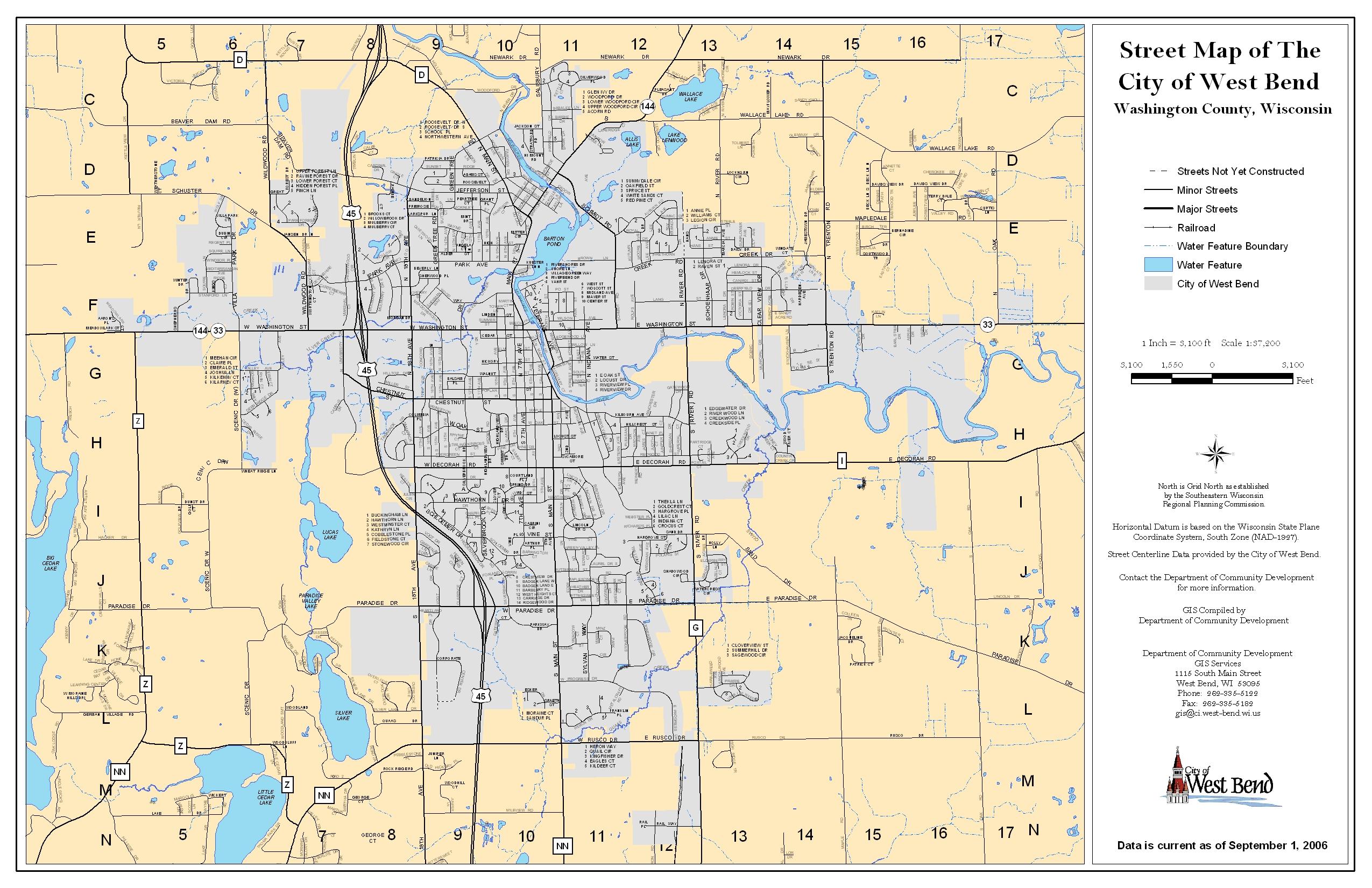 West Bend Street Map West Bend Wisconsin mappery