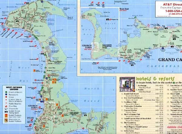 Cayman Islands Tourist Map Cayman Island mappery
