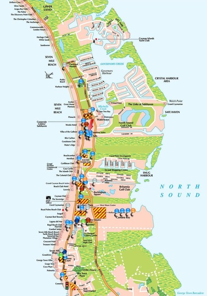 Seven Mile Beach Grand Cayman Islands Map