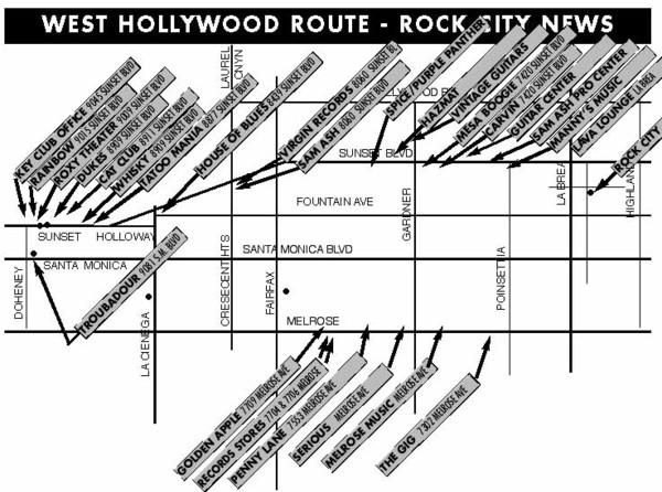 West Hollywood - Rock City News Map