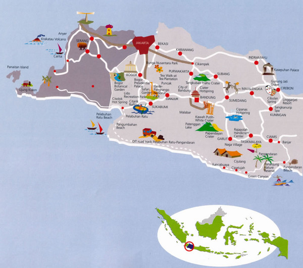 map of java. tourist Map of West Java,