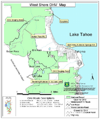 West Shore Lake Tahoe Off-highway Vehicle Map
