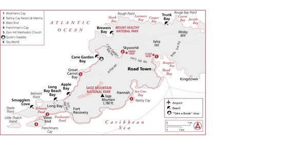 West Tortola Driving Tour Map