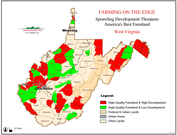 West Virginia Farmland Development Map