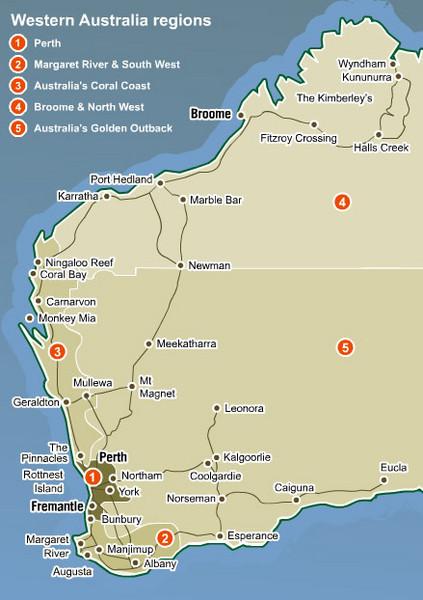 Western Australia Map Western Australia Australia mappery