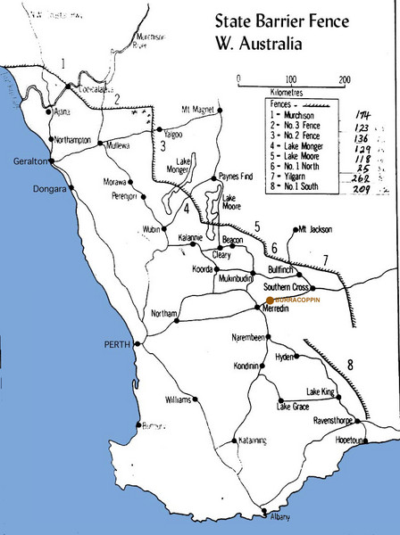 Western Australia State Barrier Fence Map