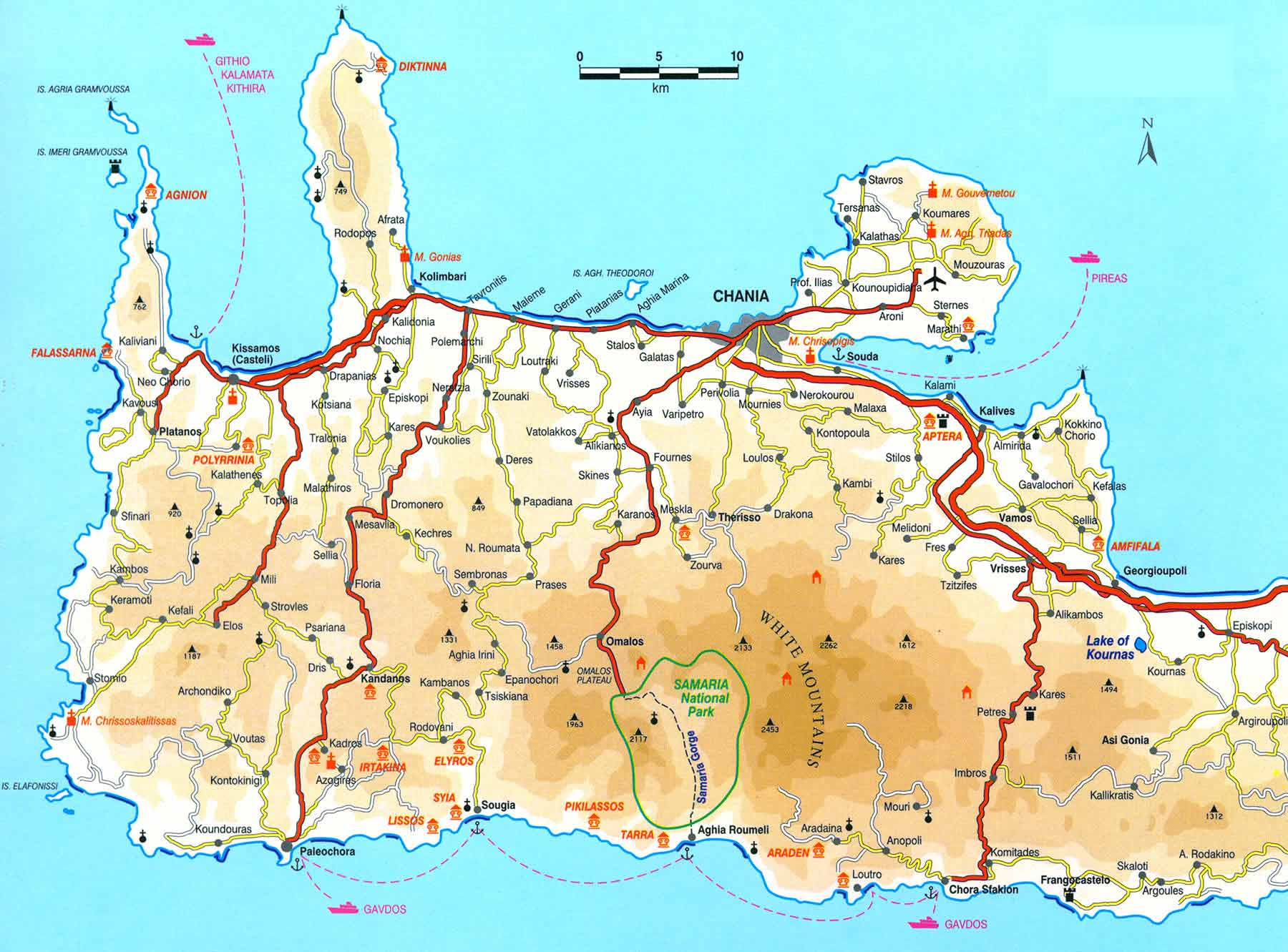 Western Crete Tourist Map Crete mappery