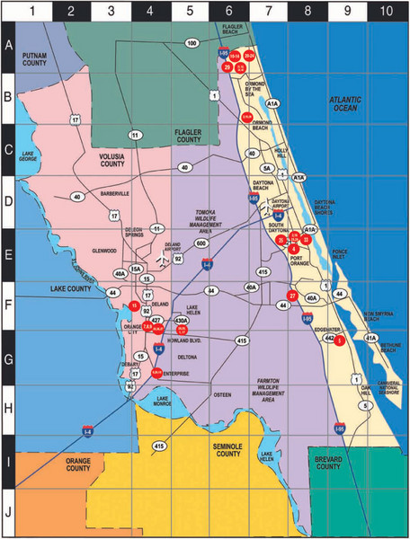Florida County Map With Roads.Western Florida County Map Volusia Mappery