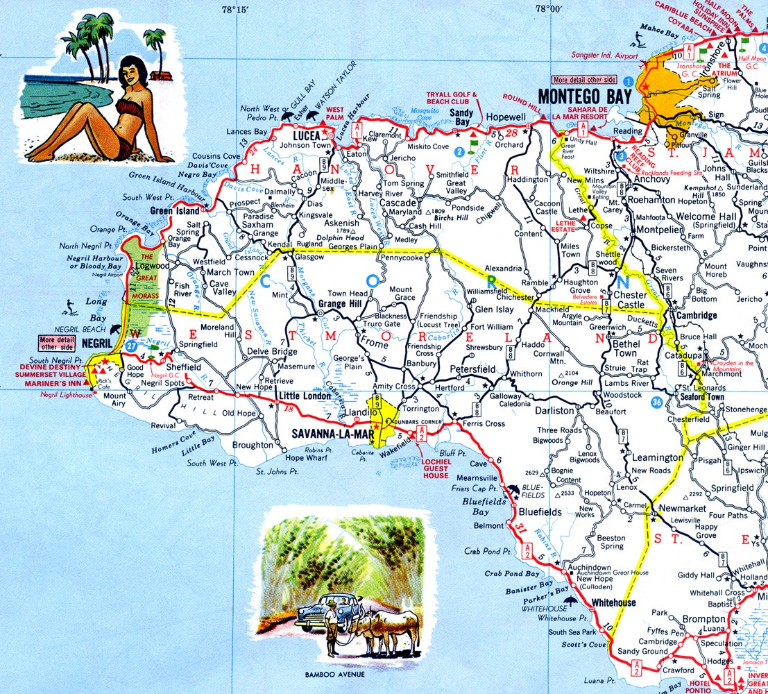 Western jamaica road map mappery sciox Images